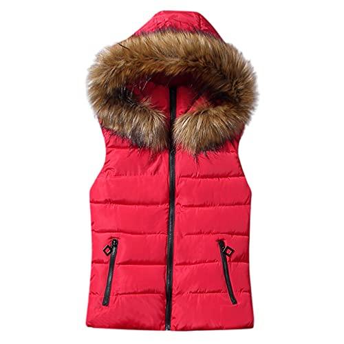 Rosennie Damen Weste Mit Kapuze Übergangsweste Winter Warm Ärmellos Sweatweste Jacke Baumwolle Solide Waistcoat Herbst Jacket Outerwear Mantel (XL, Rot)