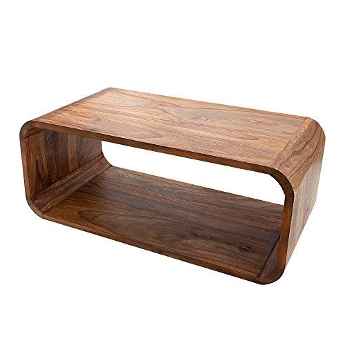 Invicta Interior Massiver Holz Couchtisch Cubus 100cm Sheesham Stone Finish TV-Board Beistelltisch Massivholz Tisch Holztisch