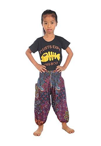 Lofbaz Bebé Hippie Harem Retro Colorido Peacock Boho Pantalones Rosa Talla 6-9M