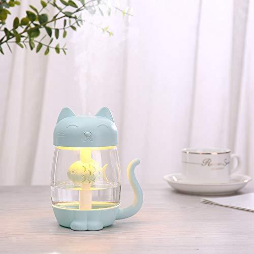 350 ml Humidificador de Aire de Gato con Color LED Luz Ultrasonic 3 en 1 Adorable Cat Eat Fish Humidificador USB Aroma Difusor Fogger (Color : Blue)