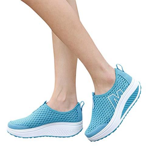 Xinantime zapatos de plataforma para mujer mocasines transpirables de malla de aire Swing cuñas zapatos, 38