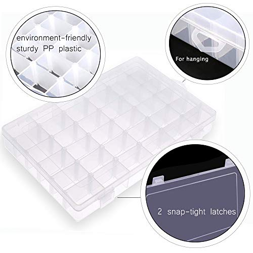 Eauta Plastic Organizer Box with Adjustable Dividers 36 Compartment Clear for Jewelry Bead Storage Letter Board Letters Fishing Tackle