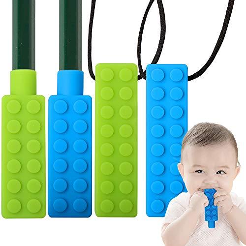 Sensory Chew Halskette, ZoneYan Kauhalskette Mädchen, Silikon Kinderkrankheiten Spielzeug, Beißring für Kinder, Kauhalskette adhs, Halskette Kauen Baby Teether Spielzeug für Autismus(4er Pack)