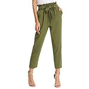 Fashion Shopping GRACE KARIN Women's Cropped Paper Bag Waist Pants with Pockets