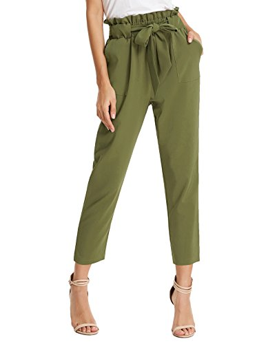 GRACE KARIN Women's Fashion High Waist Pencil Trouser Skinny Pants with Belt L Army Green