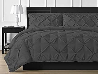 Roch Linen Soft Luxurious 3-Piece Pinch Pleated Pintuck Duvet Cover Set Highest Quality 100% Egyptian Cotton 600 TC Stain Resistant Luxurious & Hypoallergenic Comforter Cover !!(Ele Grey!!Full/Queen)