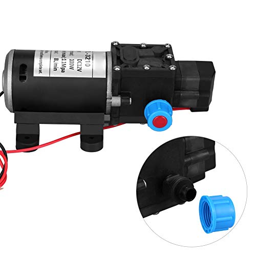 Bomba de agua de 12 V CC 100 W autocebante 8L/Min 160Psi bomba de agua autocebante de diafragma de alta presión para lavado