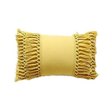 Tassel Throw Pillow Decorative Cotton Sham,12 X20
