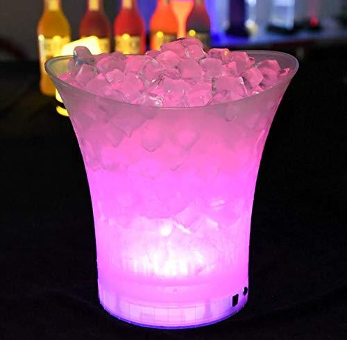 Ingjie LED Eiskübel, 5L RGB Großraum Flaschenkühler - Sektkühler - Weinkühler - Getränkekühler - Kühler Led Wasserdicht mit Farbwechsel, Für KTV,Party,Hause,etc (Batterien Nicht enthalten)(5 L)