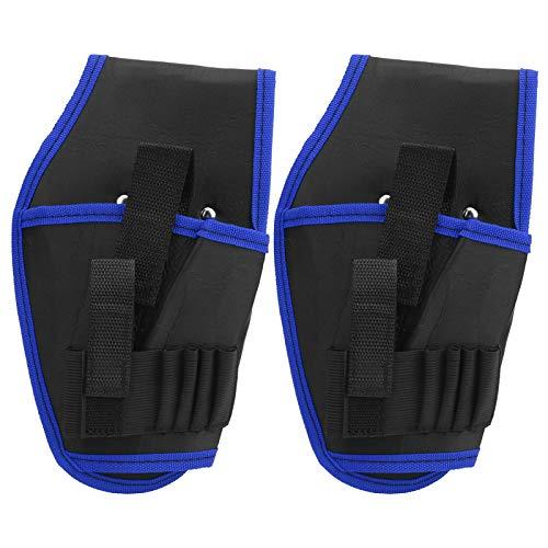 2 piezas bolsa de cinturón de taladro eléctrico herramienta de electricista inalámbrica portátil(Azul)