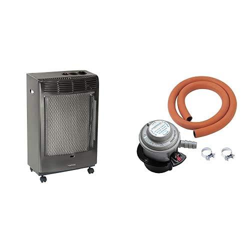 Campingaz 3000002601 Estufa de Gas, Básica Antracita, 3050 W, Antracita, 45x35x78 cm + Campingaz Kit Regulador 30 Gr (Con Válvula De Seguridad)