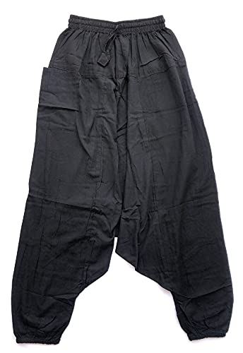 HCZ Pantalones Bombacho Hippie (Negro Liso, L/XL)
