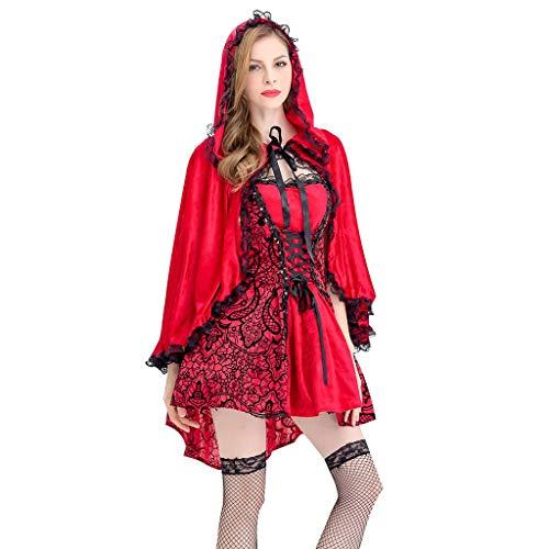 Reooly◕‿◕Cosplay Traje Rojo de Halloween de la Mujer compone el Vestido de Fiesta con Capa Sombrero