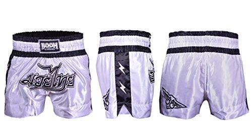 KIKFIT Pantaloncini da combattimento da uomo, Muay Thai, MMA Kick Boxing arti marziali, allenamento per arti marziali, allenamento in palestra, UFC,(bianco e nero, L (81,3-88,9 cm)