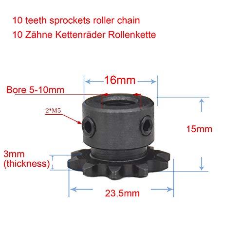 5mm 6mm 8mm 10mm Bohrung 10 Zähne Metall Zahnrad Motor Roller Kettenantrieb Kettenrad/Geeignet für 2-Punkt-Kettenrad 6,35 04C Kettenrad/ (5mm)