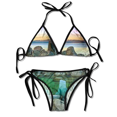 Aquarium Aquarium schwarz Bedruckte Damen Bikini Sets, Dreieck Badebekleidung Strand Badeanzug