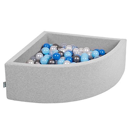 KiddyMoon Bällebad 90X30cm/200 Bälle Bällepool Mit Bällen ∅ 7Cm Für Babys Kinder Viertel Eckig, Hellgrau:Perle/Blau/Babyblau/Transparent/Silbern