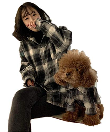 TOMOO Camisa xadrez combinando para pais e filhos, roupa para casais de gato, roupas para animais de estimação, roupas para cães tamanho pequeno, médio, grande, (GG)