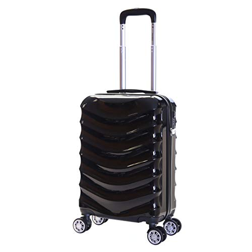 Karabar Hard Shell Cabin Carry-on Hand Luggage Suitcase Bag 55 cm 2.5 kg 35 litres Polycarbonate PC with 4 Spinner Wheels and Integrated TSA Number Lock, Ripple Black