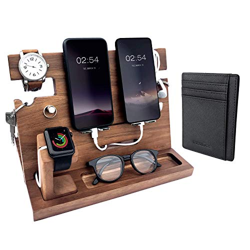 Eterluck Wooden Docking Station Men, Nightstand Organizer Bundle w/RFID Blocking Leather Wallet - Charging Station, Cell Phone Stand, Tablet Stand, Husband Gifts from Wife, for Dad - Walnut