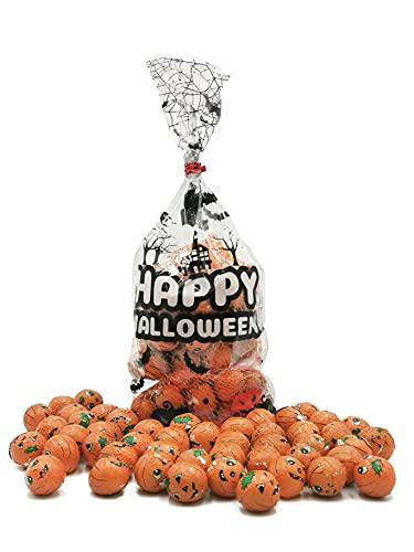 Halloween Chocolate Pumpkins Net, Trick or Treat Milk Chocolate Pumpkin Balls Halloween Themed Gift Bag (Pack of 3)