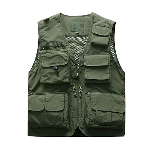 LSAltd Herrenmode Klassisch Retro Im Freien Fotografie Mehrfach Ärmellos Mesh Jacken Weste Lässig Reine Farbe Militär Plus Size Weste Tops
