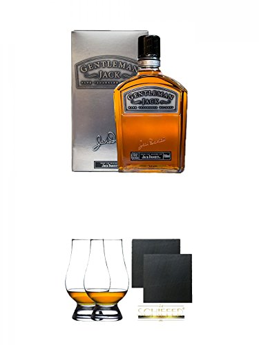 Jack Daniels Gentleman Jack 0,7 Liter + The Glencairn Glass Whisky Glas Stölzle 2 Stück + Schiefer Glasuntersetzer eckig ca. 9,5 cm Ø 2 Stück