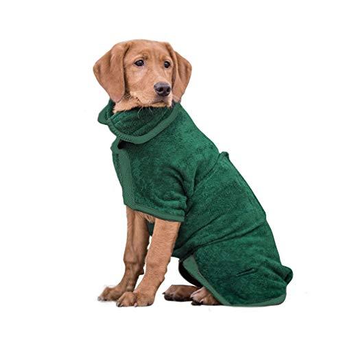 PETTOM Hundebademantel Mikrofaser Badezubehör Badetuch Hund Bademantel für Kleine Mittlere und Große Hunde (Grün,XL)