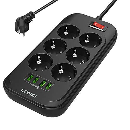 Regleta de enchufes con protección contra sobretensiones de 6 vías Enchufes de CA 4 puertos USB, 3000 W / 13 A, protección contra sobrecarga, carga rápida Cable de extensión con cable de 2 m