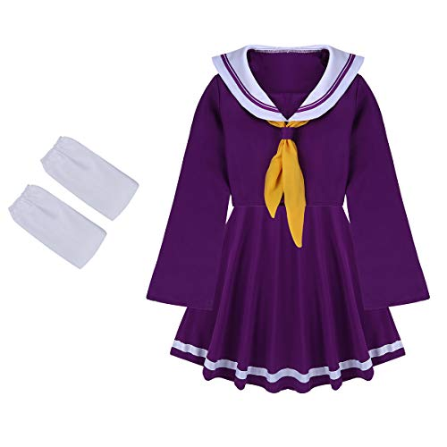 CHICTRY Frauenkostüm Marine-Lady Karneval Mottoparty Marine-Kostüm Schuluniform Kostüm Uniform Cosplay Outfit Lila S-XL Violett Small