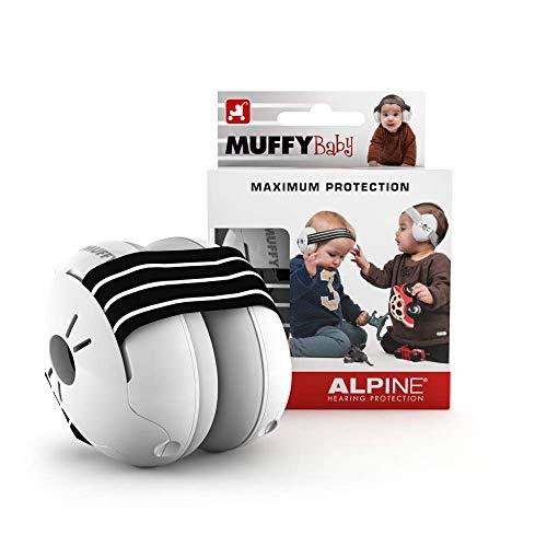 Alpine Muffy Baby Kapselgehörschützer - Gehörschutz für Babys und Kleinkinder bis 36 Monate - Lärmschutz Verhindert Gehörschäden - Verbessert den Schlaf unterwegs - Bequeme Passform - Schwarz