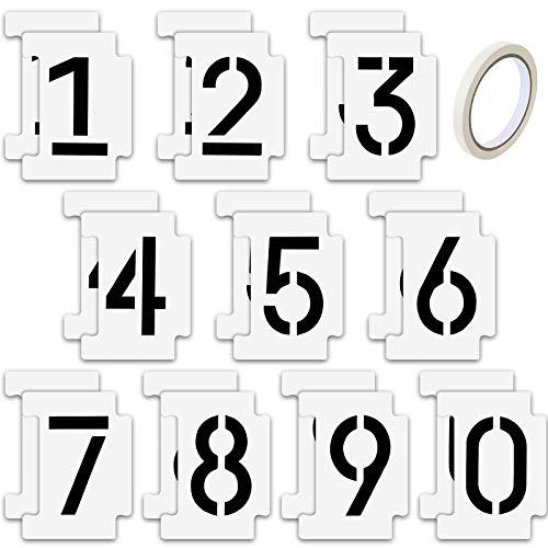 20 Piezas Kit de Plantillas de Números 0-9 Curb Stencil Números de Plástico Mylar de 14 Mil y 4 Pulgadas de Alto con Cinta Adhesiva para Pintura Direcciones de Buzones