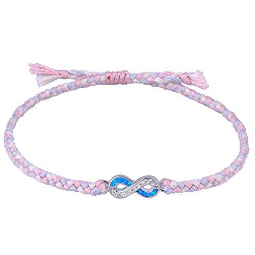 C·QUAN CHI Pulseras tejidas hechas a mano para mujer con símbolo de amor infinito, pulsera ajustable a la moda, joyería bohemia regalos para el día de la madre