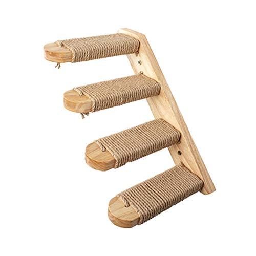 Tiragraffi per Gatti FAI DA TE Arredamento Pet Mobili Cat Tree Montato per Parete Cat Scalata Scala Scale di Legno Scale di salto Piattaforma Cat Arrampicata Cornice Kitten Jumping Board 4-Step Ladder