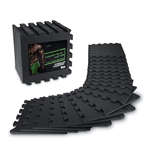 AthleticPro Bodenschutzmatte Fitness [31x31cm] - 18 extra dicke Bodenmatten [20{1a5d296755954288a05d8651620edf4a9aef1a0dff397675c17e955a65a0215c} mehr Schutz] - Rutschfeste Schutzmatten für Fitnessraum&Fitnessgerät