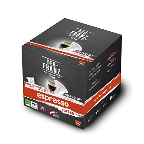 Café Der-Franz - Café Espresso en cápsulas con certificación UTZ, 100 cápsulas, compatible con Nespresso, 100 % compostable