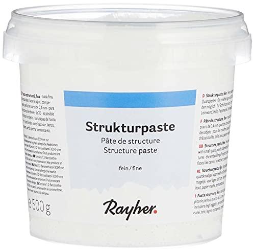 Rayher Hobby 38238000 Strukturpaste, weiß, feinkörnig, Dose 500 g, Strukturmedium für reliefartige, feinsandige Oberflächen, Spachtelmasse, Modelliermasse