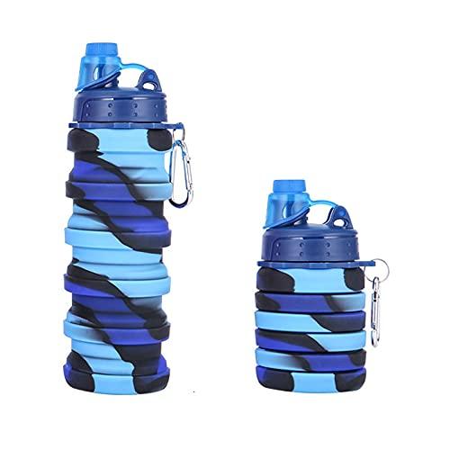 wjmss Copa de Agua de Deportes, Taza telescópica portátil al Aire Libre Calificación de Platino de Platino Platino Plegable de Silicona Camuflaje Botella de Agua
