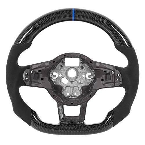 Aukson Volante, Gamuza de Fibra de Carbono con Costuras Azules para MK7 / MK7 5 GTD/R/R ‑ Line 2013-2020