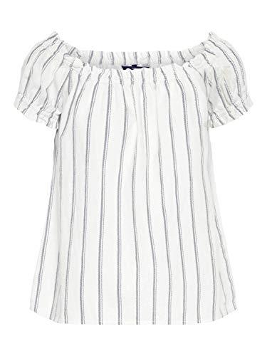 VERO MODA Damen VMANNA Milo Off Shoulder TOP NOOS Bluse, Mehrfarbig (Snow White Stripes: Night Sky), 36 (Herstellergröße: S)