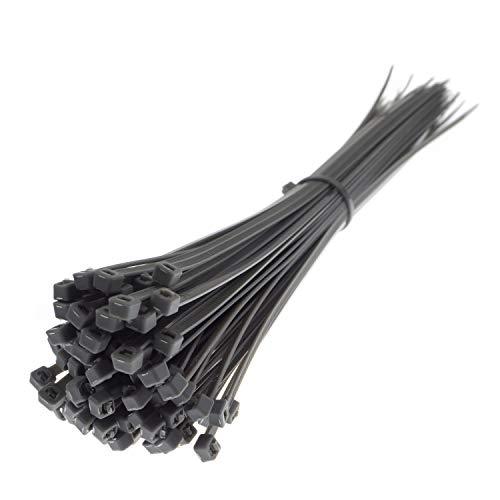 CW Handel - Premium-Kabelbinder in Grau (100 Stück, 300mm x 3,6mm), UV-, Hitze- und Kälteresistent