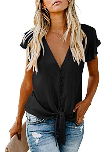 Damen Oberteile V Ausschnitt Sexy Top Sommer Strand Chiffon Bluse Shirts Schwarz XXL