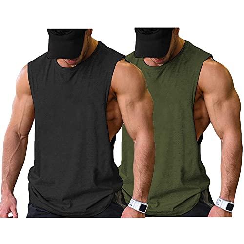 COOFANDY Herren Gym Workout Tank Tops Cut Off Muscle T Fitness Ärmelloses Shirt, Schwarz/Armeegrün(2 Stück), Gr. L