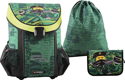 LEGO Bags Schulranzen Set Easy NINJAGO Energy, 3 teilig, Ranzen nur 790 g, Schulset mit Lego Motiv, Büchertasche ca. 39 x 29 x 22 cm, 25 Liter, Ranzenset mit gefüllter Federmappe und Sportbeutel