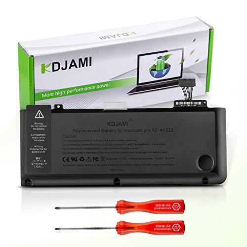 KDJAMI A1322 Ersatz Akku für MacBook Pro 13 Zoll A1322 (A1278 Mid-2009 Mid-2010 Early-2011 Late-2011 Mid-2012) MacBook Pro 13 A1322 Replacement Batterie [Li-Polymer 10.95V 63.5 Wh] (A1322)