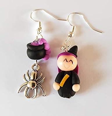 boucles d'oreilles halloween,sorciere,chaudron magique,thème halloween,boucles femmes et enfants