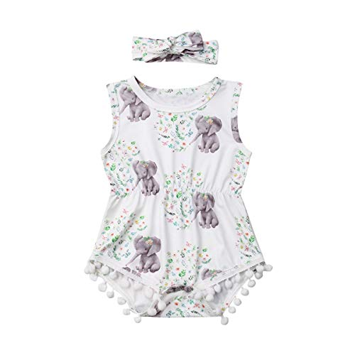 LXXIASHI Infant Baby Girls Floral Pompom Tassels Romper Bodysuit Sleeveless Jumpsuit Outfit with Headband Summer Clothes (Elephant-Leaves+Flowers, 6-12 Months)