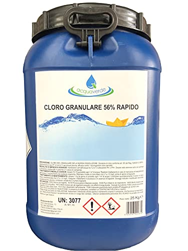 acquaverde Cloro Granulare 56% Rapido 25 Kg Dicloro Trattamento Shock per Piscina Polvere Rapida Dissoluzione