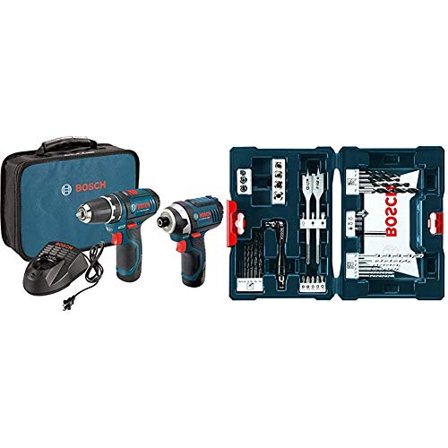 Bosch Power Tools Combo Kit CLPK22-120 - 12-Volt Cordless Tool Set with 2 Batteries, Charger and Case & MS4041 41-Piece Drill and Drive Bit Set