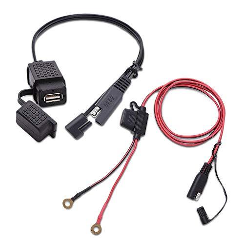 Swify Soporte de Montaje Giratorio de 360 Grados para SAE A Adaptador de Cable USB Cargador Rápido 2.1A Conector Rápido Dobles Puertos de Carga USB para 12-24 V Motocicleta Scooter